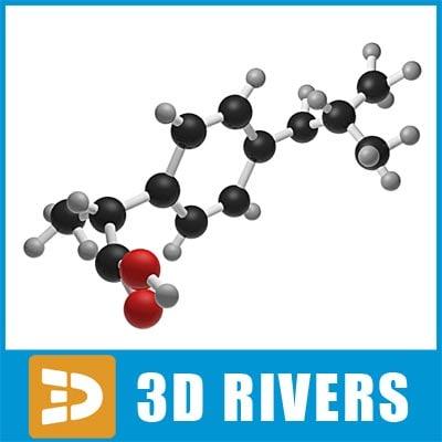 3d max ibuprofen molecule structure